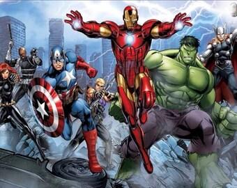 7x5ft Printed Superhero Birthday Backdrop / Superhero Banner / Avengers / Captain America / Iron man / Hulk / Superhero party