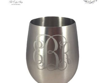 Etched Stainless Stemless Wine Glass - 18oz