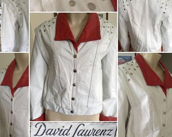 1980s White & Red Leather Studded Avant Garde Jacket!