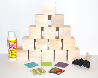 Wooden Baby Blocks - Baby Shower Activity - DIY Baby Blocks - Children's Wooden Blocks - Baby Girl  - 2 Inch Wooden Blocks