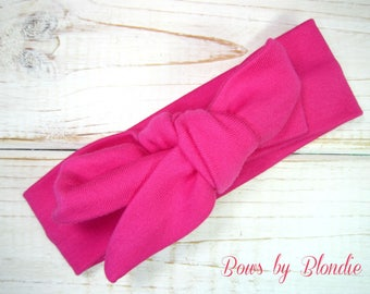 Knotted Baby headband in Hot Pink!