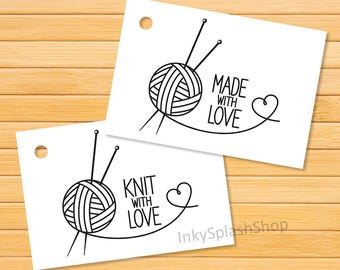 Knit with Love Tags printable Knitting tags for Handmade items. Made with love gift tags. Business Tags for knitted product packaging labels
