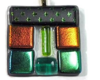 Art Glass Pendant Fused Glass Green Orange Dichroic Squares