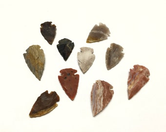 Lot of 10 Agate Arrowheads - Bulk Arrowheads - Great for Crafts, Jewelry Making