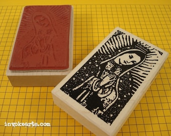 Praying Guadalupe Stamp / Invoke Arts Collage Rubber Stamps