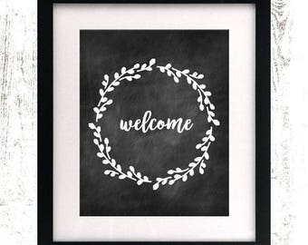 Welcome Printable - Instant Download - Rustic Home Decor - Chalkboard Wreath - Farmhouse Decor - Chalkboard Floral Digital Print