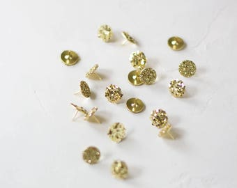 Gold Glitter Metal Thumb Tacks - 20 pc