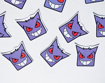 Gengar Pokemon Sticker Handmade Stationery Video Game Character Anime Cartoon Japanese Ghost Type Haunter Gastly Horror Scary Spoopy Art