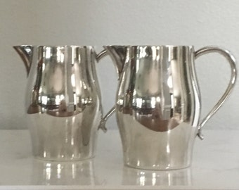 Creamer Pitchers WM A Rogers Silverplate Pair of Two 3 3/4""