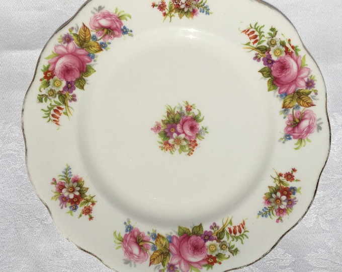 Set/6 Royal Albert Pink Chatsworth Bone China Bread and Butter Plates / Dessert Plates