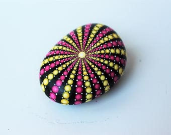 Pink and Yellow Sea Urchin Mandala Painted Rock