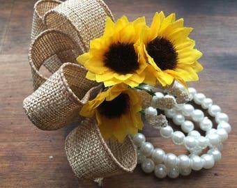 """Sunflower Wrist Corsage, Sunflower Corsage, Rustic Corsage, Women""""s Flower Corsage Rustic wedding, Sunflower wedding, Yellow Corsage"""