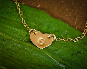 Tiny Gold Heart Initial Necklace  - 14k Gold Filled Dainty Heart, Personalized Necklace, Monogram Necklace
