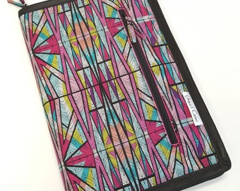 Standard knitting needle case for circulars, interchangeable tips, and short dpns in Geometric Stained Glass