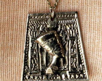 Vintage Egyptian Queen Cleopatra Silver Pendant Necklace