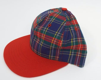 Vintage 90s Blue and Red Plaid Print Snapback
