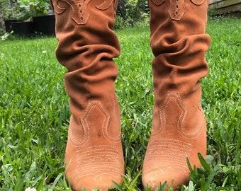 Burnt Sienna Suede Boots