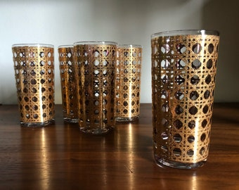 Gold Barware Glasses - Mid Century Modern Cocktail Tumblers Bar Cart Atomic Cane Design