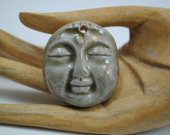 ceramic face pendant clay necklace ornament small face mask focal bead buddha