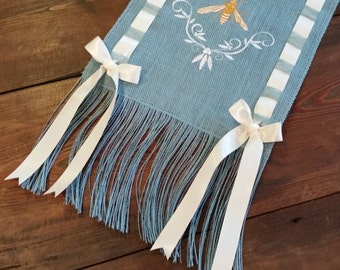 Bumble Bee Burlap Runner in SKY BLUE with Satin Ribbon