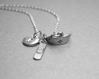 Nurse necklace, Nurse cap necklace, Bandage necklace, Nurse hat charm, nurse jewelry, personalized necklace, initial necklace, monogram