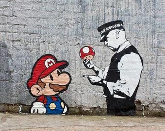 BANKSY PRINT  Mario and Cop  on Archival paper 310mg Prints Street Art Graffiti Various Sizes