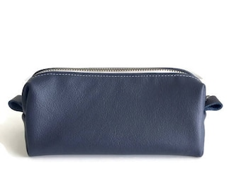 Navy Blue Leather Zipper Pouch Pencil Gift for Mom Case Make Up Bag Cosmetic Bag Gift For Her Under 40 Girlfriend Gift Bridesmaid Gift
