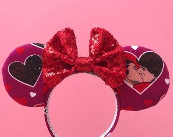 Star Wars Print Sequin Bow Princess Leia Han Solo Mickey Ears Minnie Ears Disney