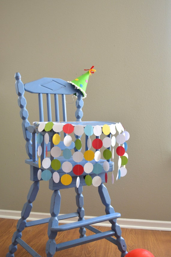 Highchair Birthday Banner - polka dot rainbow in red, green, yellow, blue and white