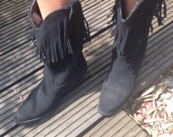Original 80s BJs black suede cowgirl tassel fringe western boots uk 4 us 6.5