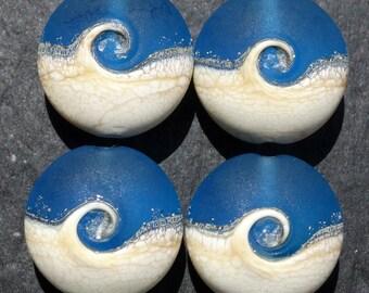 Lampwork Large Lentils (4) Ocean Wave Dark Aqua