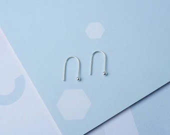Silver Arc Earrings - Gifts For Her - Minimalist Line Earrings - Horseshoe Earrings - Arc Earrings - Line Earrings - Gifts For Women