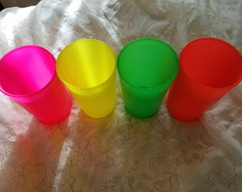 "Colorful cups, tupperware cups, set of plastic cups, stacking cups, neon colored cups, chicago ""republic"" cups, made in USA"