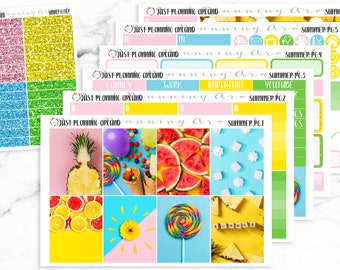 Summer Planner Kit, Summer Weekly Kit, Summer planner stickers, Tropical Planner Kit, for use with Erin Condren