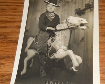 20% Off 1950's Real Photo Postcard~Little Boy Riding Hobby Horse~Cowboy