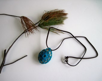 Crochet Lace Covered Stone Pendant Necklace - In Aqua Turquoise - Design 6