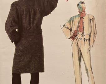 ADRI Vogue 1622 Sewing Pattern 1980s Loose Fitting Jacket Straight Skirt Tapered Pants with Draped Yoke Vogue Individualist UNCUT FF Size 10
