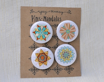 Mandala Design, pin button badges, magnets hand drawn illustrations