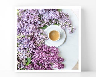 Paris Photography - Lilacs and Coffee, 5x5 Paris Fine Art Photograph, French Home Decor, Wall Art, Paris Gallery Wall