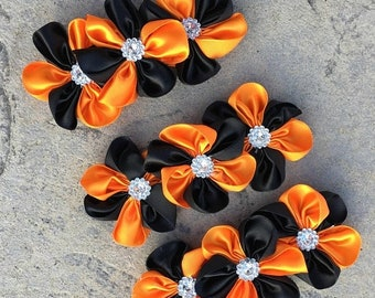 30% Set Of 3 Halloween Flowers Orange And Black Satin Cluster Flowers With Acrylic Rhinestone Resin In The Center 4 Inch Size Flower.