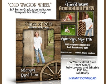 2018 Senior Graduation Invitation 5x7 Flat Card Photoshop Template OLD WAGON WHEEL. High resolution. Easy to use. Western style.  Party.