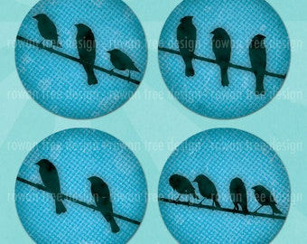 BIRDS ON WIRES Digital Collage Sheet 1.5in or 1in Circles Printable Download - no. 0173