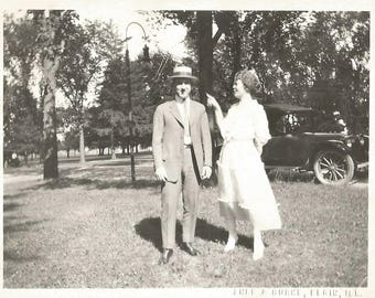 "Vintage Snapshot ""Poking Fun"" Annoying Woman Pointing At Man Wearing Straw Boater Hat Elgin Illinois Found Photo"