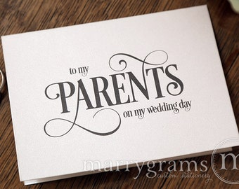 Wedding Card to Your Mother or Father - Parents of the Bride or Groom Cards - To My Parents on My Wedding Day - Thank You Card Gift - CS06