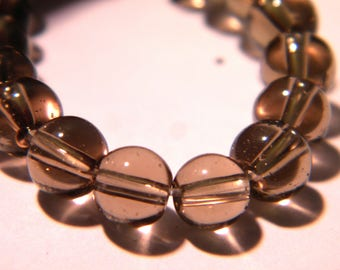30 glass beads 6 mm - grey - translucent glass - G34