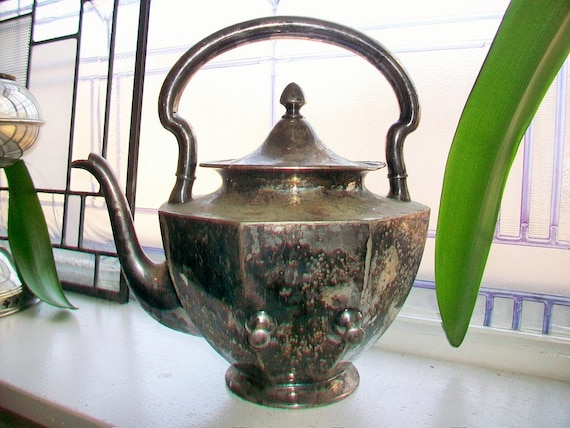 Antique Silver Plate Teapot Wilcox 1800s Tilting Teapot No Stand