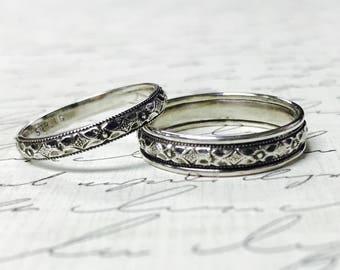 "Vintage Style Sterling Silver Floral Wedding Bands - Matching pair ""Milgrain Flower"""