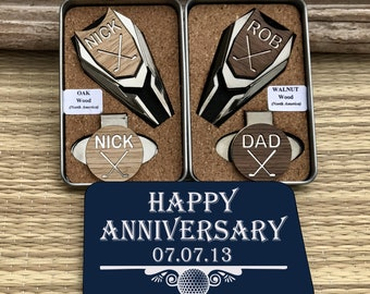 5th Anniversary Gift, Personalized Golf Ball Marker & Divot Tool, 5 year anniversary gift for man, Wood Anniversary Gift, golf gift for man