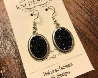 Black Druzy Earrings