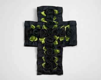 Aziza black satin rose cross brooch pin